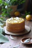 Angel Food Cake med citronkräm Royaltyfri Bild