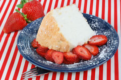 Angel Food Cake and Strawberries Stock Photography