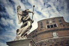 Angel in front of Mausoleum of Hadrian royalty free stock image