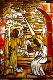 Angel Gabriel. Stained glass in a monastery stock image