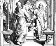 Angel Gabriel och Zechariah Arkivbild