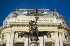 Angel of the Ganymede`s Fountain, Old National Theater in Bratislava, Slovakia Stock Photos