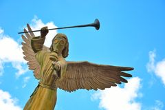 Angel with gasmask. Funny statue of an Angel with gasmask Royalty Free Stock Photos