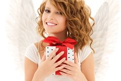 Angel with gift stock photography