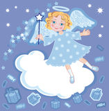 Angel with a gift and magic stick Royalty Free Stock Images