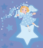 Angel with a gift and magic stick Stock Images