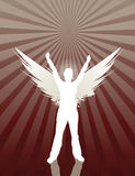 Angel Girl. Silhouette of female with wings on ray background. All elements on separate layers, easily edited Stock Photo