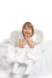 Angel girl. Little cute angel girl over white Stock Image