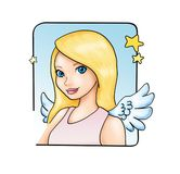 Angel girl. Illustration of pretty girl with angel wings Stock Photo