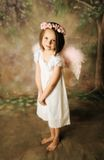 Angel Girl. Beautiful young girl wearing angel wings and floral halo Royalty Free Stock Photography