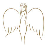 Angel girl. The beautiful sketch of the girl with wings (angel) a gold brush