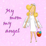 Angel Girl With Basket Of floresce meu anjo da mamã ilustração stock