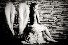 Angel girl with brick background, black and white Royalty Free Stock Images