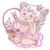 Angel girl with butterflies in sketch style. Stock Image