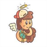 Angel Girl In Cap, foulard et portrait décrit frais tiré par la main supérieur bleu d'Emoji Image stock