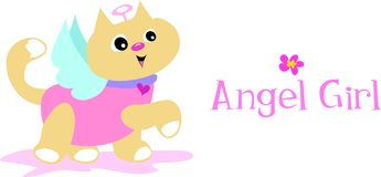 Angel Girl Cat Stock Images