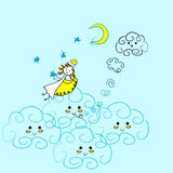 Angel girl child doodle with fluffy clouds. On blue Stock Image