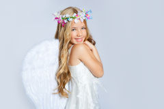 Angel girl children sweet expression royalty free stock photography
