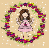 Angel girl in christmas decoration. Vector graphic card with cute angel girl in christmas decoration Royalty Free Stock Images