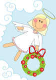 Angel girl with christmas garland. Illustration of nice angel girl with christmas garland over blue background, cartoon Royalty Free Stock Photo