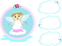 Angel Girl with Cloud Bubbles Stock Image