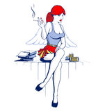 Angel girl and drink the beer smoke Royalty Free Stock Photography
