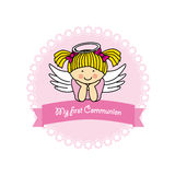 Angel girl. Girl First Communion card. angel girl Stock Photography