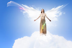 Angel girl flying high Royalty Free Stock Photos