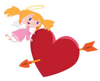 Angel girl and heart Stock Images
