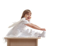 Angel girl on pedestal Royalty Free Stock Photography