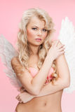 Angel girl in underwear and wings Royalty Free Stock Image