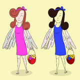 Angel Girls With Basket Of floresce o plano isolou 1 ilustração stock