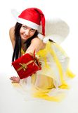 Angel give you a present Royalty Free Stock Photography