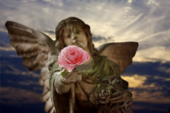 Angel giving rose Stock Image