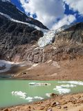 Angel Glacier and Cavell Pond, Jasper National Park, Alberta. Icebergs are floating in Cavell Pond while the tow of Angel Glacier hangs dramatically on the steep stock images