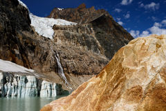 Angel Glacier Mount Edith Cavell. Landscape featuring Angel Glacier from Mount Edith Cavell. Jasper National Park royalty free stock photos