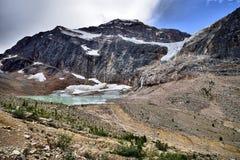 Angel Glacier Mount Edith Cavell. Landscape featuring Angel Glacier from Mount Edith Cavell. Jasper National Park stock photo