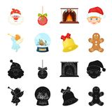 Angel, glass bowl, gingerbread and bell black,cartoon icons in set collection for design. Christmas vector symbol stock. Illustration Royalty Free Stock Photography