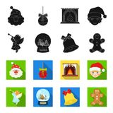 Angel, glass bowl, gingerbread and bell black,flet icons in set collection for design. Christmas vector symbol stock web. Angel, glass bowl, gingerbread and bell Stock Photo