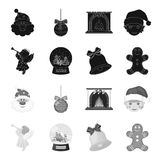 Angel, glass bowl, gingerbread and bell black,monochrome icons in set collection for design. Christmas vector symbol. Stock  illustration Stock Photography