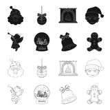 Angel, glass bowl, gingerbread and bell black,outline icons in set collection for design. Christmas vector symbol stock. Illustration Royalty Free Stock Photography