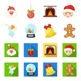Angel, glass bowl, gingerbread and bell cartoon,flat icons in set collection for design. Christmas vector symbol stock. Illustration Royalty Free Stock Photo