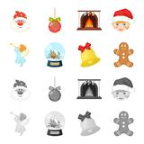 Angel, glass bowl, gingerbread and bell cartoon,monochrome icons in set collection for design. Christmas vector symbol. Stock  illustration Royalty Free Stock Photos