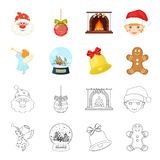 Angel, glass bowl, gingerbread and bell cartoon,outline icons in set collection for design. Christmas vector symbol. Stock  illustration Royalty Free Stock Photo