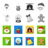 Angel, glass bowl, gingerbread and bell monochrome,flat icons in set collection for design. Christmas vector symbol. Stock  illustration Stock Image