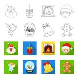 Angel, glass bowl, gingerbread and bell outline,flat icons in set collection for design. Christmas vector symbol stock. Illustration Stock Image