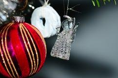 Angel of glass on christmas tree Stock Photos