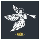 Angel god. Vector illustration. Black and white vector objects vector illustration