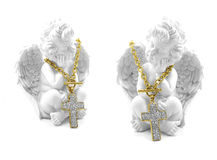 Angel and gold cross necklace stainless steel Royalty Free Stock Image