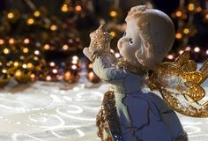 Angel with golden star. Christmas angel with golden star Stock Image